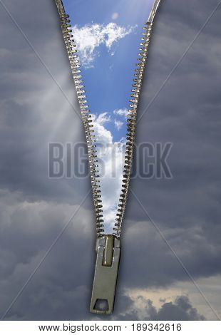 Creative background with stormy sky, zipper and blue sky