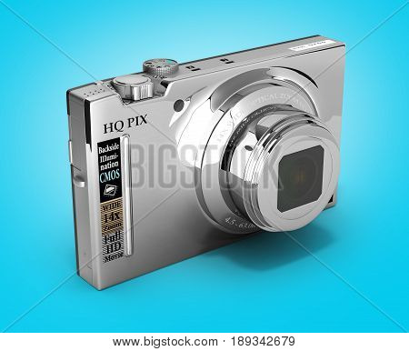 Digital Photo Camera Isolated On Gradient Background 3D Illustration