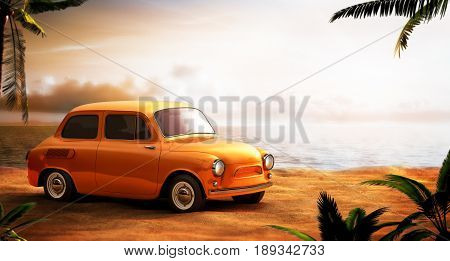 Retro Car On A Beach At Beautiful Sunset. Out Of Town.3D Illustration.