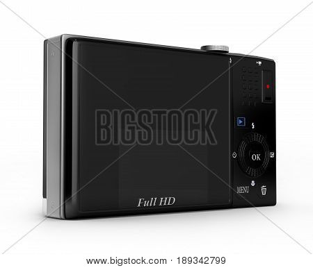 Digital Photo Camera Isolated On Grey Gradient Background 3D
