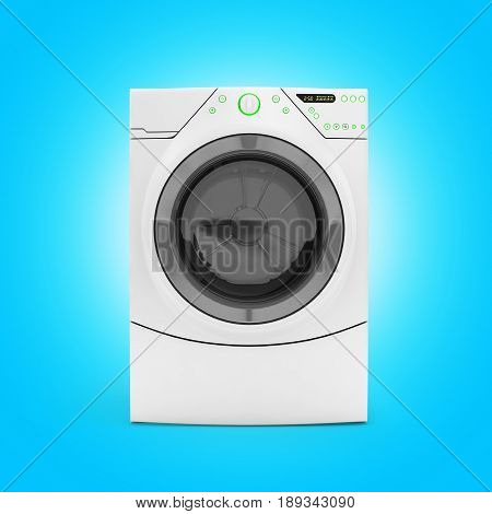 Washing Machine On Blue Gradient Background 3D Render