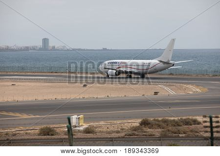 Arecife, Spain - April, 15 2017: Boeing 737 - 300 Of Cobrex Trans At Lanzarote Airport