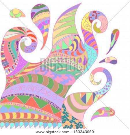 Abstract illustration of mandala motley colorful fictional
