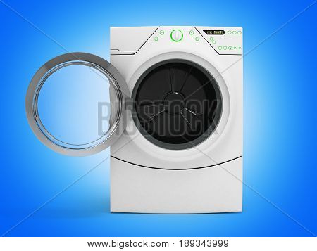 Isolated Washing Machine With Opened Door On Gradient Background 3D