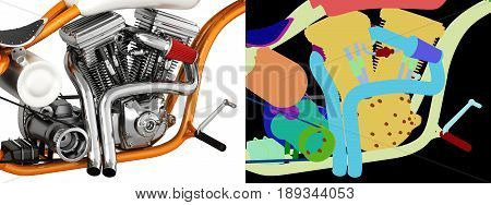 Motorcycle Engine V Twin With Wirecolor 3D Illustration