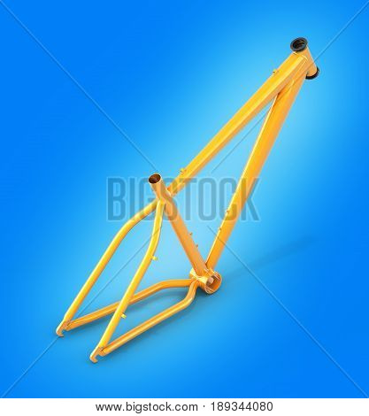 Mtb Frame Isolated On Blue Gradient Backround 3D Illustration