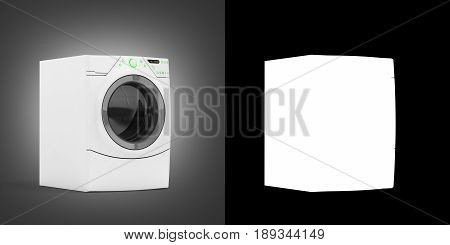 Washing Machine On Grey Gradient Background With Aplha 3D Illustration