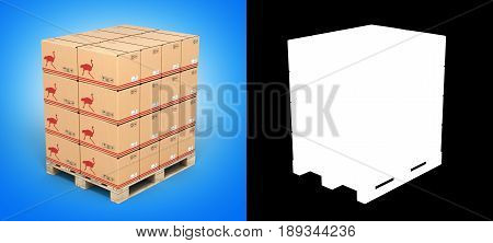 Cardboard Boxes On Wooden Pallet On Blue Gradient Background With Alpha 3D