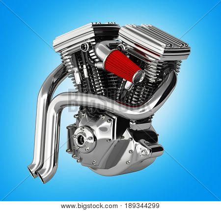 Motorcycle Engine V Twin Isolated On Blue Gradient Background 3D Render