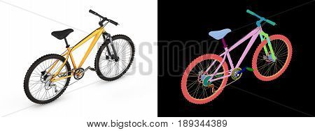 Mountain Bike Isolated On White Background With Alpha Colour 3D Render