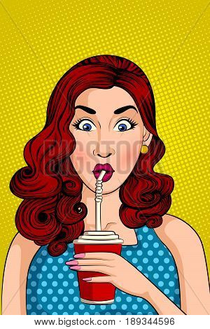 Vector design of Pop art style retro lady drinking Cola drink with straw