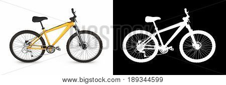 Mountain Bike Isolated On White Background With Alpha 3D Render
