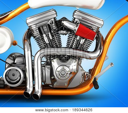Motorcycle Engine V Twin Isolated On Gradient Background 3D Illustration