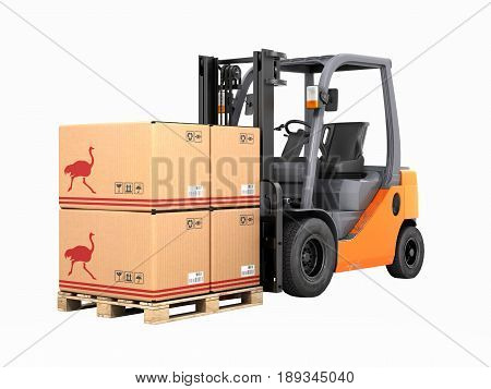 Forklift Truck With Boxes On Pallet Without Shadow 3D