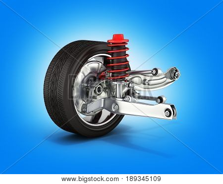 Suspension Of The Car With Wheel On Blue Gradient Background 3D