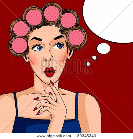 Vector design of Pop art style retro lady with hair curler