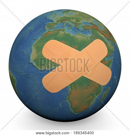 Wounded planet earth with a bandage aid. Ecology and environmental issues concept. Elements of this image furnished by NOAA (ETOPO1 Global relief model) .3d render. 3d illustration