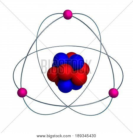 Atom Model With Proton, Neutron And Electron Isolated On White