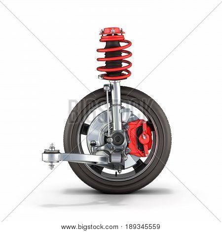 Suspension Of The Car With Wheel On White Background 3D Render