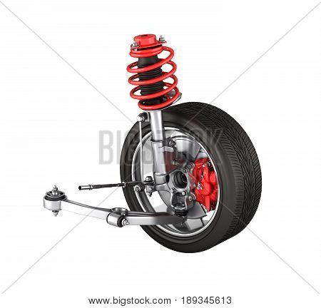Suspension Of The Car With Wheel Without Shadow Isolated On White Background 3D