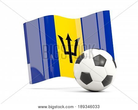 Football With Waving Flag Of Barbados Isolated On White
