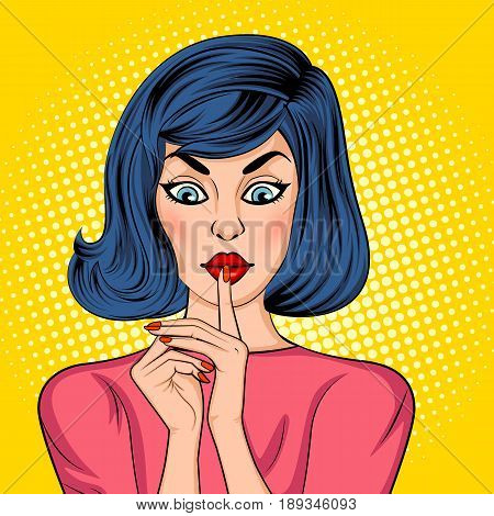 Vector design of Pop art style retro lady showing silence gesture