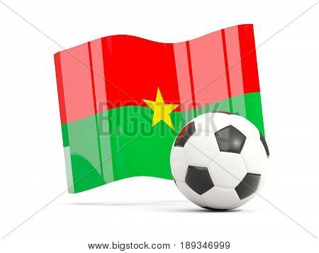 Football With Waving Flag Of Burkina Faso Isolated On White