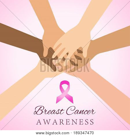 Diverse women hands joining for breast cancer awareness
