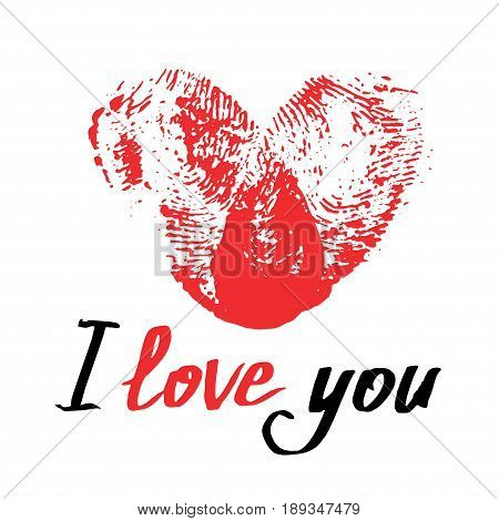 Red thumbprint heart and handwritten phrase I love you. Romantic card for Valentines day or wedding. Fingerprint Heart isolated on white. Vector illustration