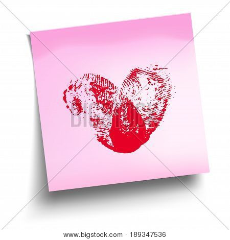 Pink sticky note with red thumbprint heart isolated on white. Vector illustration