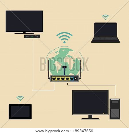 Using a router for domestic purposes. Connection to devices through a router and Wi Fi. Vector icon in flat style.