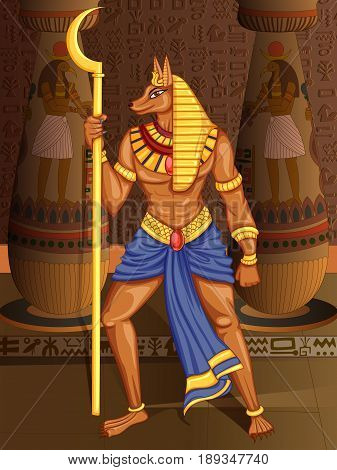 Vector design of Egyptian civiliziation King Pharaoh Anubis God on Egypt palace backdrop