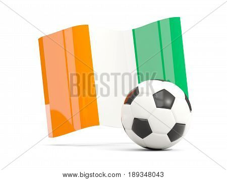 Football With Waving Flag Of Cote D Ivoire Isolated On White
