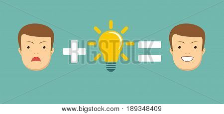 Ideas and solutions makes you smile. Stock vector illustration for poster, greeting card, website, ad, business presentation, advertisement design.