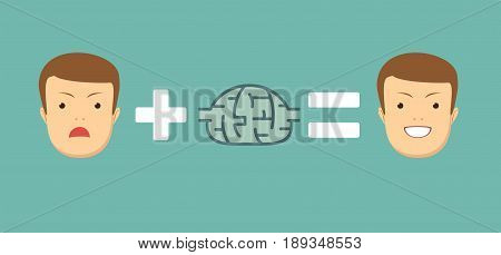 Ideas and solutions makes you smile. brainstorming. Stock vector illustration for poster, greeting card, website, ad, business presentation, advertisement design.