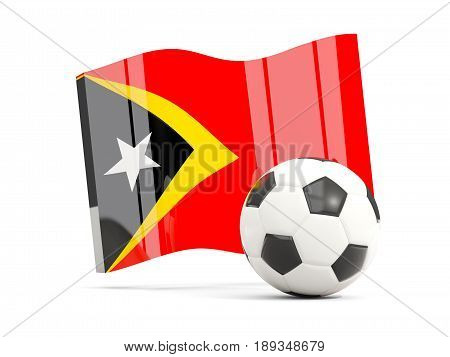 Football With Waving Flag Of East Timor Isolated On White
