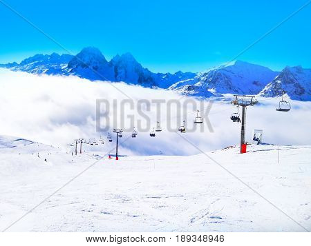 ski slope in the mountains of winter resort, in French Alps, Chamonix, France