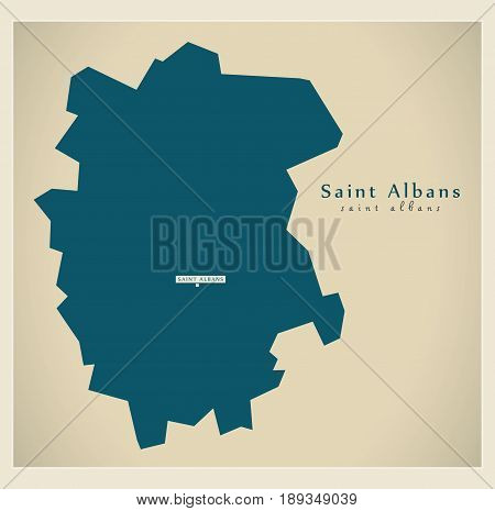 Modern Map - Saint Albans District Uk Illustration
