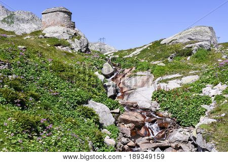Landscape With A River At St. Gotthard Pass