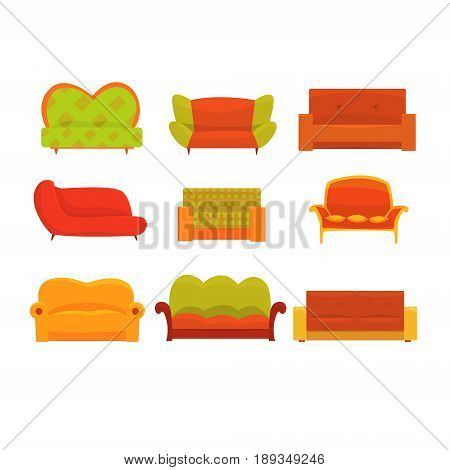 Sofas and armchairs, Interior elements. Comfortable couch set of colorful detailed vector Illustrations isolated on white background