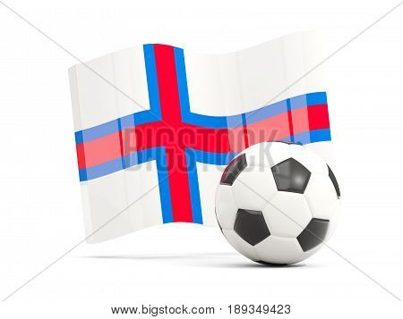 Football With Waving Flag Of Faroe Islands Isolated On White