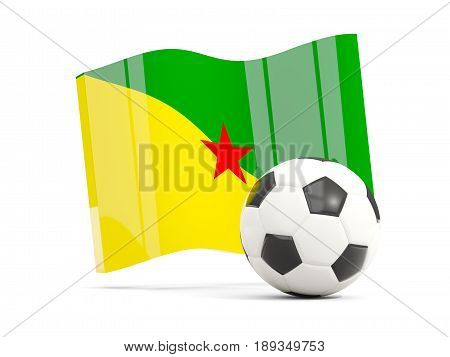 Football With Waving Flag Of French Guiana Isolated On White