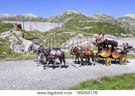 Horse Carriage On St. Gotthard Pass, Switzerland