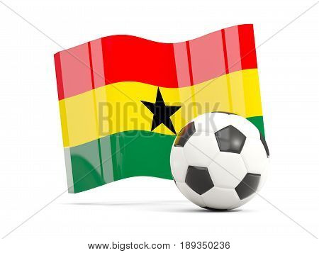Football With Waving Flag Of Ghana Isolated On White