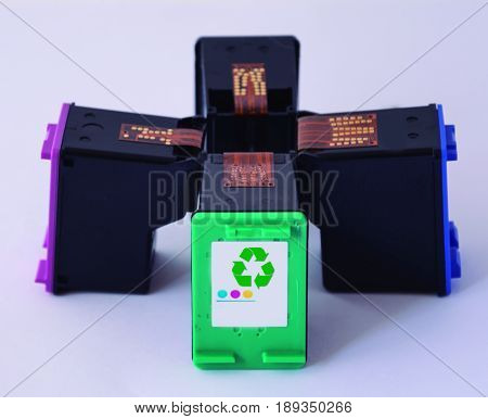 Printer ink. Recycled ink cartridges for printers.