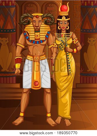 Vector design of Egyptian civiliziation King Pharaoh Khnum God with Queen on Egypt palace backdrop