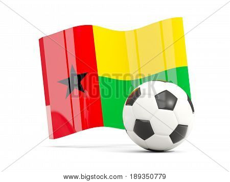 Football With Waving Flag Of Guinea Bissau Isolated On White