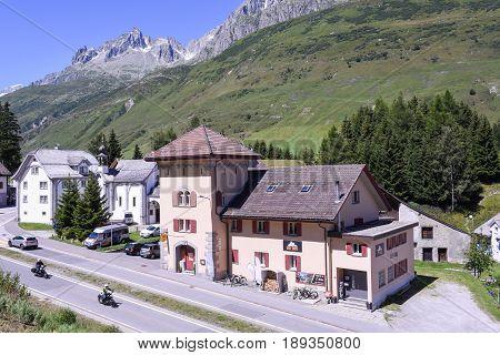 The Village Of Hospental On The Swiss Alps