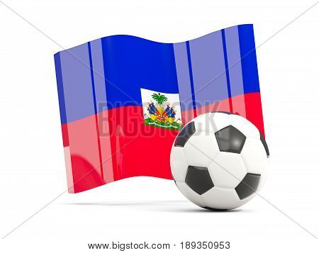 Football With Waving Flag Of Haiti Isolated On White