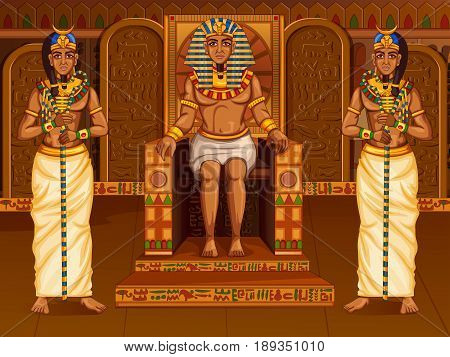 Vector design of Egyptian civiliziation King Pharaoh God on Egypt palace backdrop